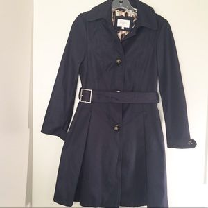 Laundry by Shelli Segal navy blue pleated coat